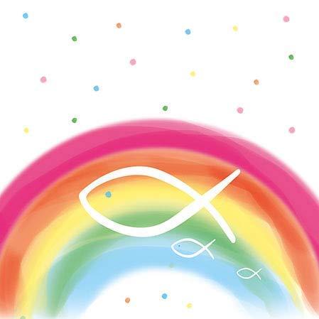 Ambiente - Luxury Paper Products Papierservietten - Servietten Cocktail/Party/ca. 25x25cm Rainbow White - First Communion - Kommunion und Konfirmation - Ideal Als Geschenk Und Tisch-Deko