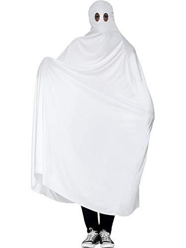 Bettlaken Aus Kostüm - erdbeerclown - Herren Männer Kostüm Geist Gespenst mit Bettlaken Gewand, Ghost Robe, perfekt für Halloween Karneval und Fasching, M/L, Weiß