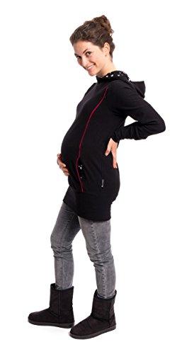 Viva la Mama Still Hoodie I 3in1 Sweatshirt für Schwangere Pullover Stillen Umstandsmode Stillmode I Kapuzenpulli für Damen I PIET Schwarz