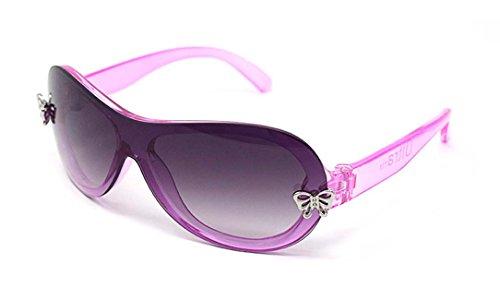 Ultra® rosa Mädchen Sonnenbrillen glänzend Kristall rosa Rahmen mit zwei silbernen Schmetterling Plaketten auf vorderen Perle Beschichtung für Rauch-Frame-Objektiv