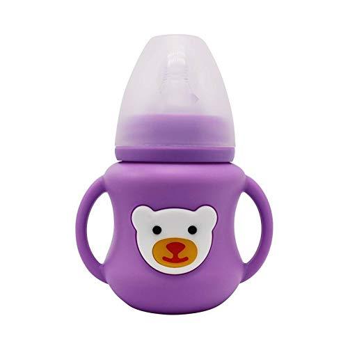 Bright love Naturel Large Bouche de sécurité Alimentation en Silicone boîte de bébé biberon bébé, Pas de BPA,Purple