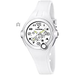 Calypso Girl's Quartz Watch with White Dial Analogue Display and White Plastic Strap K5562/1