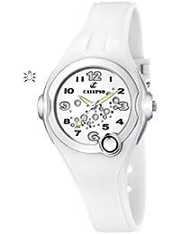 Calypso - K5562/1 - Montre Mixte - Quartz - Analogique - Eclairage - Bracelet Caoutchouc Blanc