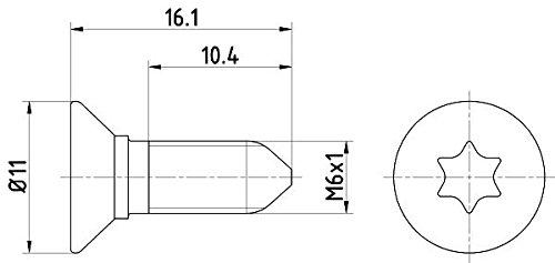 HELLA PAGID 8DZ 355 209-081 Schraube, Bremsscheibe, Hinterachse oder Vorderachse, Oberfläche Chrom-(VI)-freie Passivierung, Set aus 2 Bremsscheiben