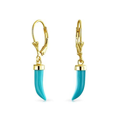 Italienische Horn Glücklich Zahn Amulett Stabilisiert Türkis Baumeln Ohrringe Für Damen 14K Vergoldet Sterling Silber