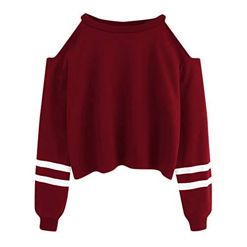 Damen Hoodie, VEMOW Langarm Sweatshirt Pullover mit Kapuze Einfarbig Tops Bluse(X2-Weinrot, 34/S)