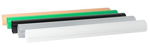 Bresse Fotostudio BR-PVC-1 Auflagen für Fototische 5er Set 68x130cm in den Farben weiß, schwarz, grün, grau und Koralle für Produktfotografie