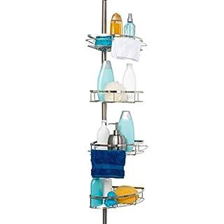 jocalvi Teleskop Duschregal Edelstahl rostfrei - Duschablage - Teleskopregal ohne Bohren - Eckregal für die Dusche - Badregal | Duscheckregal | Badewannenregal