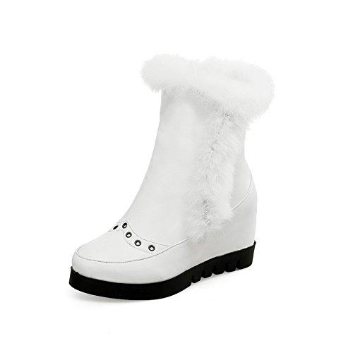 AgooLar Damen Niedrig-Spitze Rein Reißverschluss Mittler Absatz Stiefel mit Metallisch, Weiß, 38