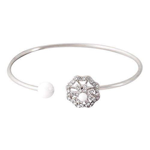 AmaMary Armbänder für Frauen, Bling Bling Perle Blume Diamant Inkrustiert mit einem Rotary Armband kann das Armband einstellen (Silber)