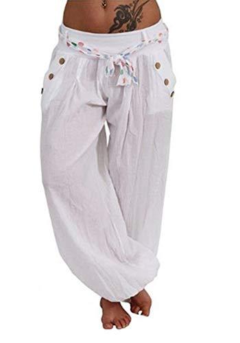 25f37ae9adae24 Wenyujh\' Damen Hose Pumphose Haremshose Baumwolle Leicht mit Tasche  Sommerhose Freizeithose Große Größen (