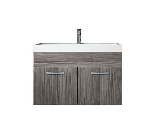 Badezimmer Badmöbel Set Paso 01 80 cm Waschbecken Bodega (grau) - Unterschrank Schrank Waschbecken Waschtisch