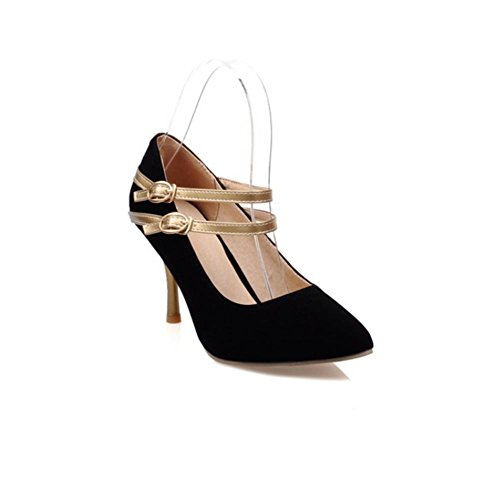 H H Frauen im Frühjahr und Herbst (rot.) Schwarz. (blau) Doppel-Schnalle Sanding mit High Heels Wear-resistent Non-Slip , Black , 38 (Schnalle Sandale Leder Doppel)