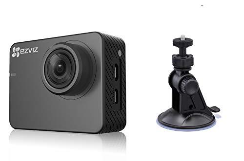 Ezviz S2 Lite Sport & Dash Camera CAR, risoluzione Full HD, WiFi, Bluetooth 4.0, modalità Sport e Guida, supporto a ventosa per auto incluso, Grigio