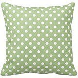 Sage Green and White Polka Dots Design Throw Pillow Cover Case Decorative Square for Home Sofa 18X18 Inches Two Sides Dots Case Cover