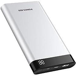 POWERADD Virgo I Batterie Externe 10000mAh, 2 Port Sorties et 2 Port Entrées(Entrée & Sortie de Type-C) avec Ecran LED Charge Rapide pour iPhone, iPad, Android Smartphones-Argent