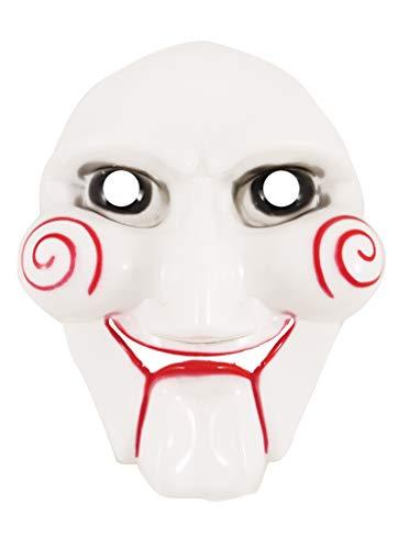 Wicked Nights Erwachsene Gruselige Puzzle-Gesichtsmaske Halloween Böser Horror Clown Säge Masken Kostüm - Wicked Clown Kostüm