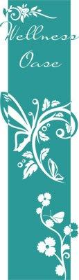 Preisvergleich Produktbild Wandtattoo Türaufkleber Türbanner für Badezimmer Spruch Wellness Oase Blumen (200x57cm//054 türkis)