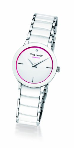 Pierre Lannier - 006K999 - Montre Femme - Quartz Analogique - Cadran Blanc/Rose - Bracelet Acier et Cramique Blanc