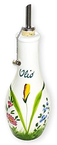 handgemachte Ölflasche mit Ausgießer 500 ml im Blumenwiesen Design aus italienischer Keramik, Ölspender Größe: ca. 23