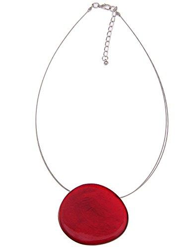 Leslii Damenkette Capizmuschel Collier Halsreif Halskette Modeschmuck aus Metalllegierung Länge 43cm in Rot ()