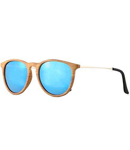 caripe Retro Sonnenbrille Damen Herren Hornbrille Vintage Brille verspiegelt + getönt - 139 (Holzoptik natur - blau verspiegelt-s961W)