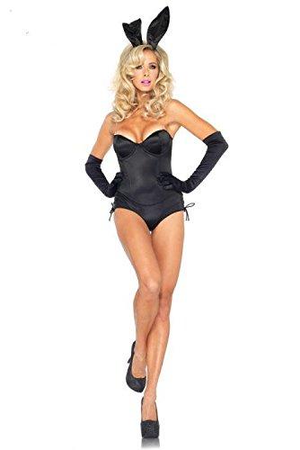 5 Stück Sexy Playboy-Bunny Qualität Kostüm Leotard Ohren Handschuhe und Schwanz Größe (Kostüm Handschuhe Bunny)