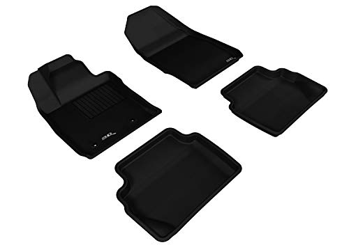 3d MAXpider All 2 Row Custom Fit Floor Mat for select Fiesta Hatchback Models - cagou Rubber (Black)
