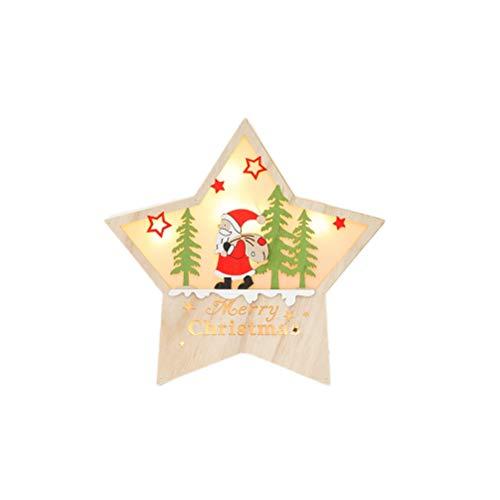 BESTOYARD Chrsitmas Baumschmuck fünf Sterne Batterie LED Licht Ornamente für Weihnachtsfeier Requisiten (Santa)