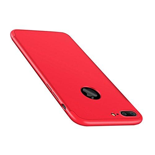 iPhone 8 Plus Coque, Bonice iPhone 7 Plus Coque Détachable 360 Degrés Étui de Protection Full Etui de Protection [Séparable] Ultra Mince Fine 0,3 mm Slim Léger Matte Coque [3 en 1] Cover Case Anti-Scr A - Rouge