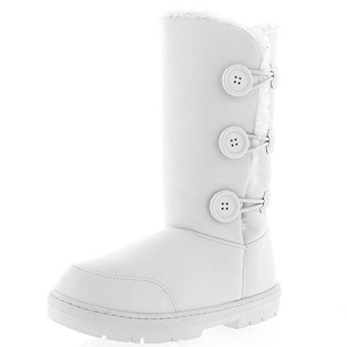 Donna Pulsante Tripletta Completamente Foderato Di Pelliccia Impermeabile Inverno Neve Stivali Bianco Pelle