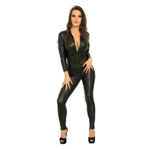 I-Glam Erotic Punk Gothic Bodysuit Wetlook Bustier Outfit Catsuit
