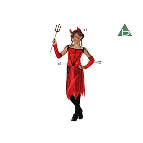 Kleines Mädchen Kostüm Teufel - Atosa-10583 Kostüm Damen Démon 7-9, Mädchen, 10583, Rot, von 7 bis 9 Jahren