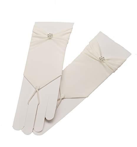 Unbekannt Brauthandschuhe fingerlos Braut Handschuhe Perlen Pailletten Hochzeit Weiß Ivory (Weiß)
