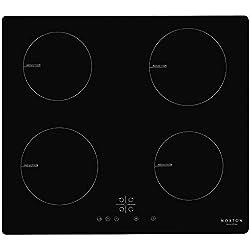 NOXTON Plaque de cuisson à induction encastrable Cuiseur de Table électrique 4 foyers de cuisson en verre Noir Avec Capteur Contrôles Tactiles