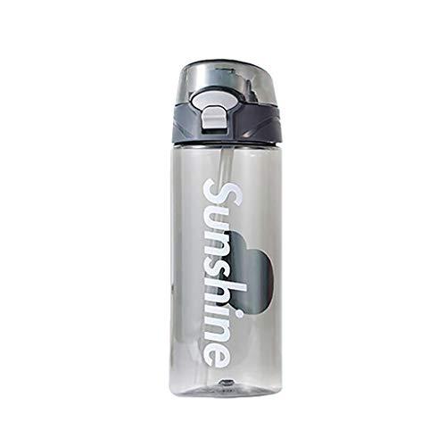 YXBB Flip Stroh Wasser Trinken Flasche Sport Wasser Tasche Reiten Wandern Camping Mode Wasser Gallone Wasserflasche 500ml 1