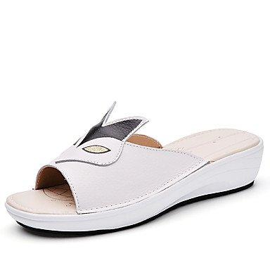 LvYuan Damen-Slippers & Flip-Flops-Lässig-PU-Keilabsatz-Vorne offener Schuh / Stile-Schwarz / Gelb / Weiß White