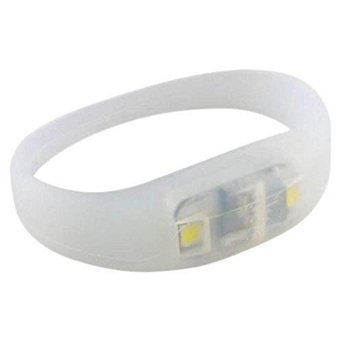 Ultra ® Weiß Pulse LED Armbänder Glowing leuchtenden Armband mit ultra hellen LED-Leuchten und Akkus perfekt für Läufer Hund Wanderer und für Parties Geburtstage Tänze und Veranstaltungen (weiß) (Bewegung Aktiviert-spielzeug Für Hunde)