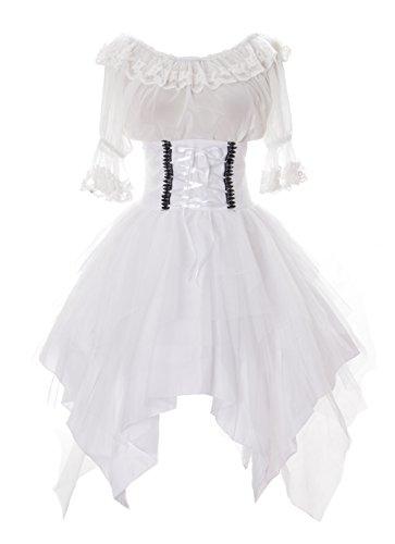Kawaii-Story JL-640-3 weiß Rock asymetrisch & Bluse Tüll Spitze Kleid Victorian Rococo Stretch Gothic Lolita Kostüm Cosplay (Stretch L-XL)
