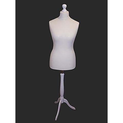 Blanco hembra pantalla maniquí de busto de maniquí para costura para estudiantes de moda con un color blanco madera trípode Base tamaño 36/38, UK 8/10ó 10/12