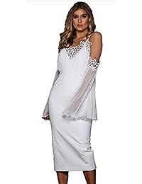 ba6e30086 Vestido de dama de noche de las señoras Mujeres Correas espaguetis Vestido  de noche con hombros descubiertos Cuello en v Sin espalda Malla…
