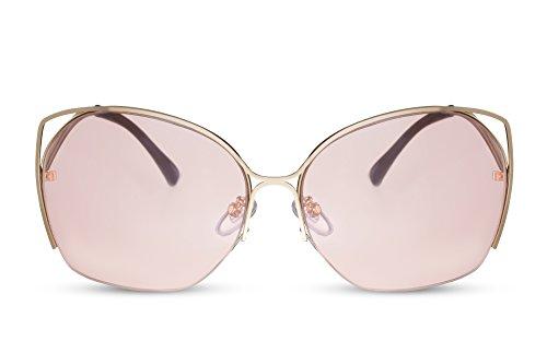 Cheapass Sonnenbrille Gold Braun Rund Groß Cat-Eye Frauen Damen Metall