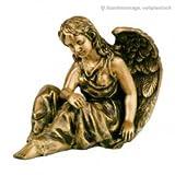 Serafinum Schutzengel Figur sitzend aus Bronze - Engel Helena / Braun