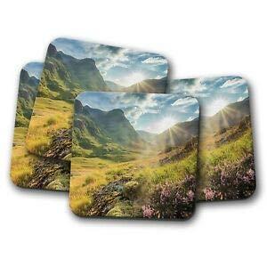 Worlddream Untersetzer-Set Glencoe Mountains Highlands Scotland Untersetzer - Sunrise Trave Geschenk