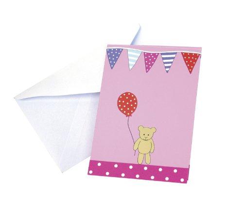 Einladung Einladungskarten Kindergeburtstag Kinderparty Teddy pink 8 Stück
