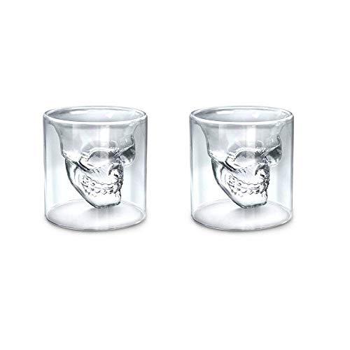 Juego de 2 tazas creativas de cristal con diseño de calavera y...