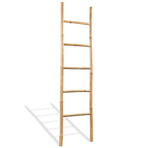 VidaXL Escalera Toallas 5 Peldaños Bambú 150 cm