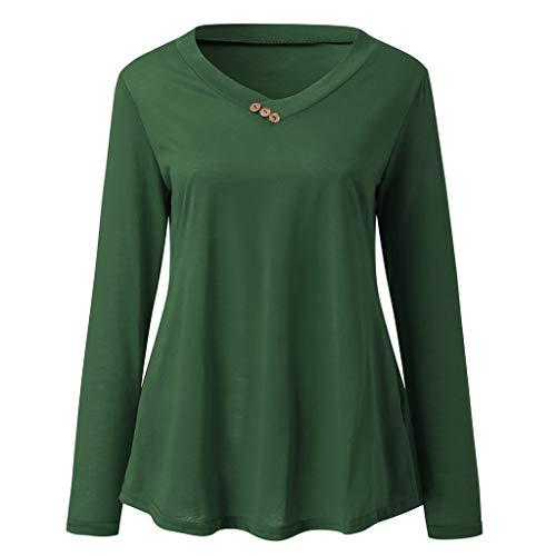 Zegeey Damen Plus Size Long Sleeve Print V-Neck Button Pullover Tops Shirt Bluse Langarm Karneval Fasching Fasnacht Cocktailkleider Partykleid(B8-Grün,EU-38/CN-L) - Bouclé-baumwolle Pullover