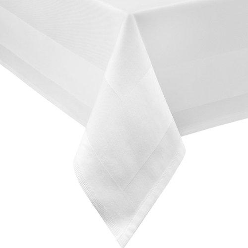 DAMAST Tischdecke ECKIG 140x240 140 x 240 cm Weiss Atlaskante 100% Baumwolle Tischwäsche Tablecloths von DecoHometextil