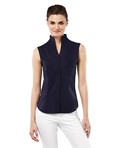 Vincenzo Boretti Damen Bluse mit Kelchkragen leicht tailliert 100% Baumwolle bügelleicht Kurzarm ärmellos Hemdbluse mit Stehkragen elegant festlich auch für Business dunkelblau 40 (Kurzarm-seiden-tunika)